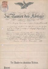 BERLIN In Namen des Königs  Minister der öffentlichen Arbeiten 1891 Urkunde (482