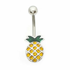 Pineapple Belly Button Ring Yellow CZ Gems 14g