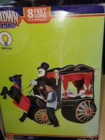 """Gemmy Halloween Inflatable Horse Carriage Skeleton Lightup Hearse 8"""" NEW IN BOX"""