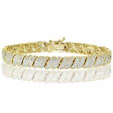 18K Gold Tone 0.25ct Natural Diamond Wave Link Tennis Bracelet in Brass