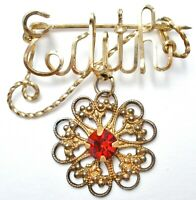 Vintage Edith Gold Filled Red Rhinestone Brooch Name Pin Gold Filled Jewelry