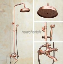 Antique Red Copper Bathroom  Rain Shower Faucet Set Bath Tub Mixer Tap nrg511
