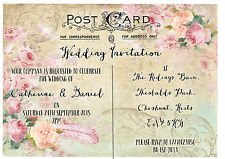 PERSONALISED SHABBY CHIC VINTAGE POSTCARD FLORAL WEDDING INVITATIONS PACKOF10