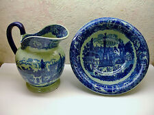 Vintage Victoria Ironstone Water Jug & Basin Set Flow Blue Pale Green Background