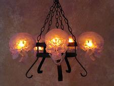 5 Clear Skull Chandelier no Candles, Halloween Prop, Human Skulls/Skeleton, NEW