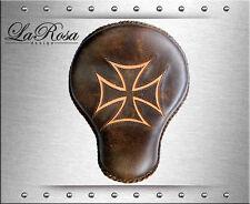"16"" La Rosa Rustic Brown Leather Tan Iron Cross Inlay Chopper Bobber Solo Seat"