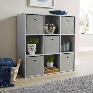 Grey Storage Cube 9 Shelf Bookcase Wooden Display Unit Organiser Furniture