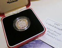 1997 £1 one pound ROYAL passant PIEDFORT silver proof coin COA boxed Cc1