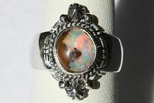 Signed Navajo Made Boulder Opal Sterling Silver Ring - Size 6.25