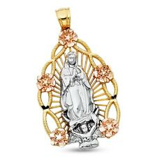 Virgin Mary Flowers Pendant Solid 14k Yellow Rose Gold Guadalupe Charm Two Tone