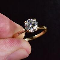 Round Cut 2 Carat Diamond Engagement Ring Hallmarked 14K Yellow Gold Band M N P