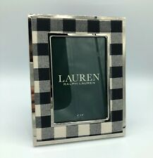 *NEW* Ralph Lauren Christmas Black White Silver Tartan Plaid 4 X 6 Picture Frame