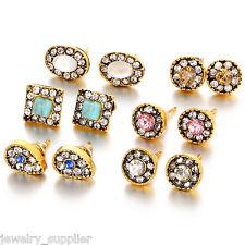 6 Pairs/Set Fashion Exquisite Korea Flower Crystal Rhinestone Lady Stud Earrings