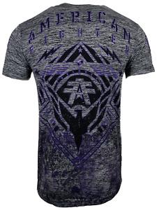 AMERICAN FIGHTER Men's T-Shirt WARDELL Gray Athletic Biker MMA XS-4XL