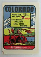 Vintage Colorado travel decal Baxter Lane Co Switzerland of America original pkg
