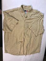 Arizona Jean Co Men's  Fit Yellow Plaid Button Down Shirt Size Large