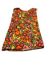 "Vintage 1970s Doll Dress Orange Red Floral Handmade 12"" - 14"" doll Hippy Flowers"