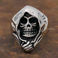 Men's Punk Gothic Biker Skull Cloak Grim Reaper 316L Stainless Steel SS Ring