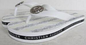 Christian Audigier Womens Janet Sandals Flip Flop Shoes, White, US 5