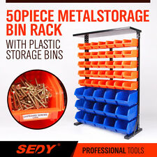 50 PC Bin Storage Rack Nuts Bolts Organizer Heavy Duty Stable High Quality