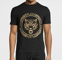 Philipp PLEIN SPORT Tiger Men's Stretch Cotton Gold Embroidered Black T-shirt