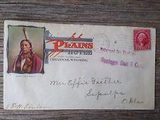 1932 Antique Plains Hotel Cheyenne Wyoming Stamp Envelope Vintage Vintage Old