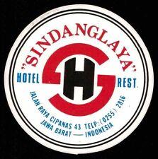 SINDANGLAYA Hotel old luggage label JAWA BARAT Indonesia sticker