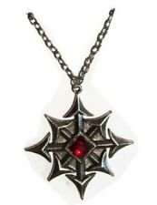 Gothic Vampire Pendant 8 Point Silver Metal Medallion W/ Red Jewel Halloween Acc