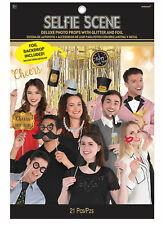 Deluxe New Year Photo Booth Selfie Scene Photo Prop & Gold Foil Backdrop Curtain