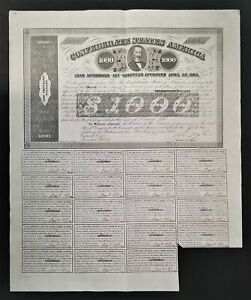 1863 $1000 The Confederate States of America War Bond w/ 19 Coupons