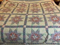 "ARCH QUILTS of Elmsford NY 100% cotton 8 point star QUILT 78 x 80"" Twin/Full"