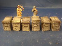 12X Painted stowage boxes for diorama and scenery. For 1.32, 1.35 scale, WW2.