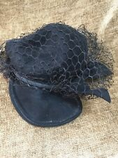 Antique Vintage Ladies Hat Circa Early 1900's Black With Pearl Hat Pin