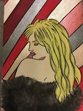 Original Pretty Lady Painting Risqué Red Pink Wall Art
