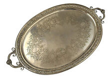Large Egyptian Revival English Sterling Silver Tray By Mappin & Webb