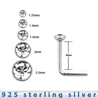 5pcs. 22G~1.25mm to 2.5mm Flat Clear CZ .925 Sterling Silver L-Shaped Nose Stud