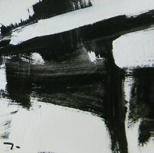 "JOSE TRUJILLO Acrylic Painting 9"" Black & White ABSTRACT ART MODERNISM - DECOR"
