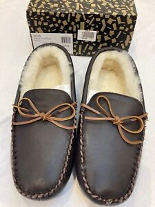 NEW Men's John Lewis Voss Sheepskin Moccasin Brown Slippers Size 10
