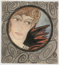 "Angela Piotrowska-Wittmann (b.1898) ""Art Deco Lady"", Watercolor, ca.1920"