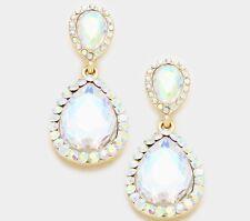 "1.5"" Long Bridal Rhinestone Crystal Gold AB Teardrop Aurora Borealis Earrings"