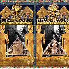 2 Tutankhamun Pyramid Coins - Death Mask & Canopic Coffinette - 2008 Isle of Man