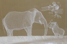 Elephants & Monkey Laser Cut Glass Cuboid