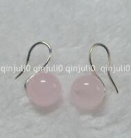 10mm Natural Pink Rose Quartz Round Gemstone Beads Silver Hook Earrings JE90