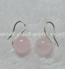 10mm Natural Pink Rose Quartz Round Gemstone Beads Silver Hook Earrings JE90