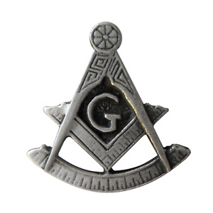 Past Master Square and Compasses with G Masonic Freemason Pewter Pin Badge