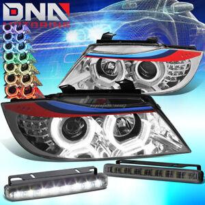 "CHROME 3D RGB COLOR HALO HEADLIGHT+6""8 SMOKED LED FOG LAMP FIT 06-08 E90 M-SPORT"