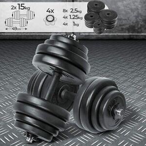 Set Manubri 30 kg 2x15 Rivestiti in Plastica Pesi Fitness Palestra Body Building