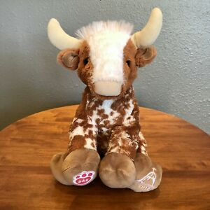 """Build A Bear Longhorn Spotted Bull Steer Cow Bevo 12"""" Plush Way of Lights 2018"""