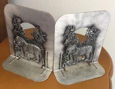 Vintage Pair Metzke Metal Bookends Jungle Tigeress & Cub Tiger 1974