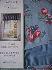Waverly Hillside Floral Valance Double Layer Fairfield Red Blue Shabby 72x17 NEW
